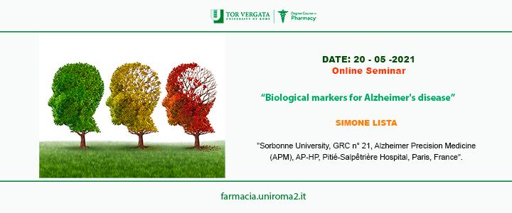 "Online Seminar: ""Biological markers for Alzheimer's disease"""